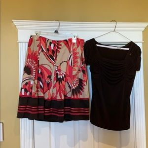 Coral and brown skirt with shirt